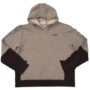 Adidas Boys Hooded Gray & Black Sweatshirt L